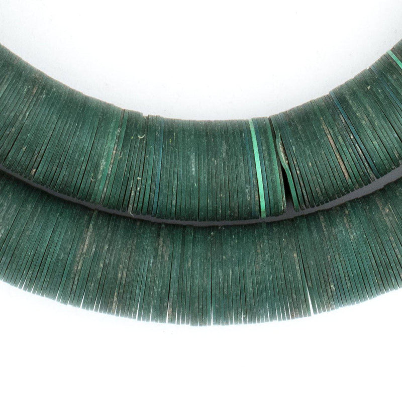 Dark Green Vintage Vinyl Phono Record Beads (14-16mm) - The Bead Chest