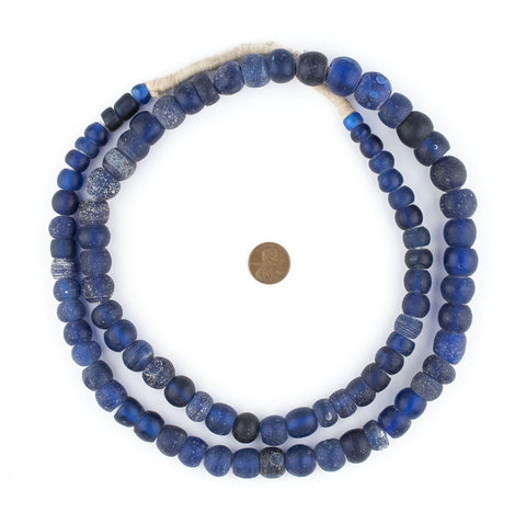 Old Blue Wound Dogon Trade Beads (Long Strand) - The Bead Chest