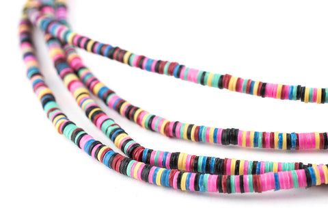 Image of Multicolor Vinyl Phono Record Beads (3mm) - The Bead Chest