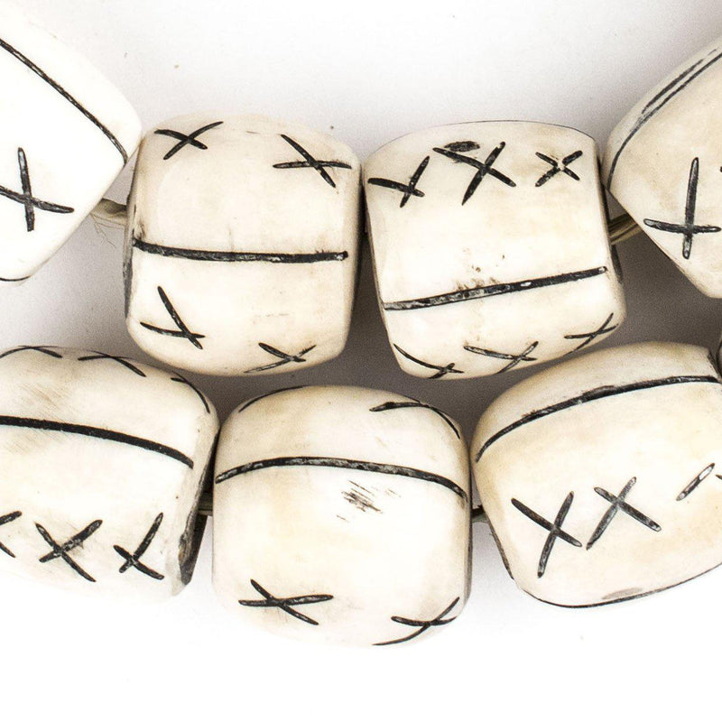Carved X Design Bone Beads (Barrel) - The Bead Chest