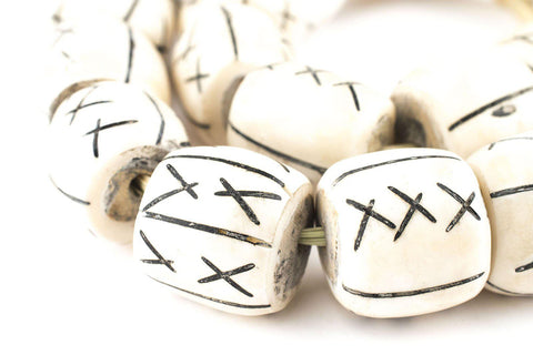 Image of Carved X Design Bone Beads (Barrel) - The Bead Chest
