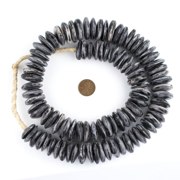 Rustic Grey Kenya Bone Beads (Disk)