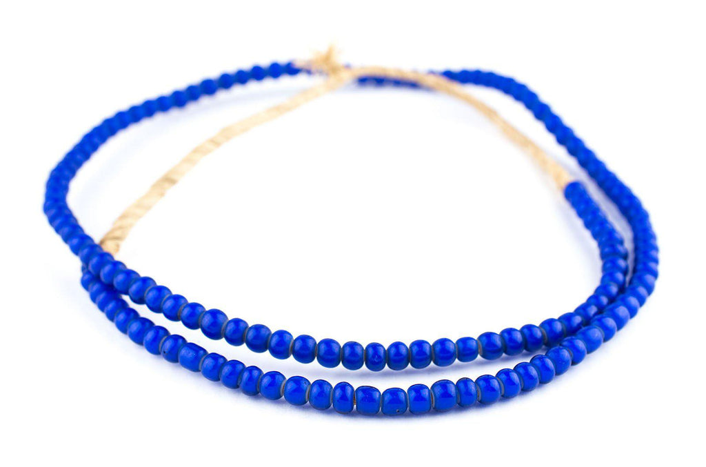 Navy Blue White Heart Beads (6mm) - The Bead Chest