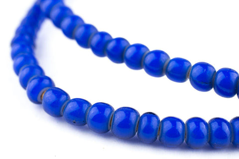 Image of Navy Blue White Heart Beads (6mm) - The Bead Chest