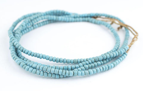 Image of Vintage Turquoise Blue Glass Beads (2 Strands) - The Bead Chest