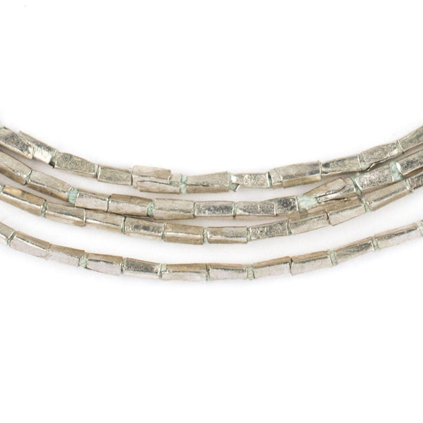 Silver Rectangular Tube Ethiopian Beads (5x2mm) - The Bead Chest