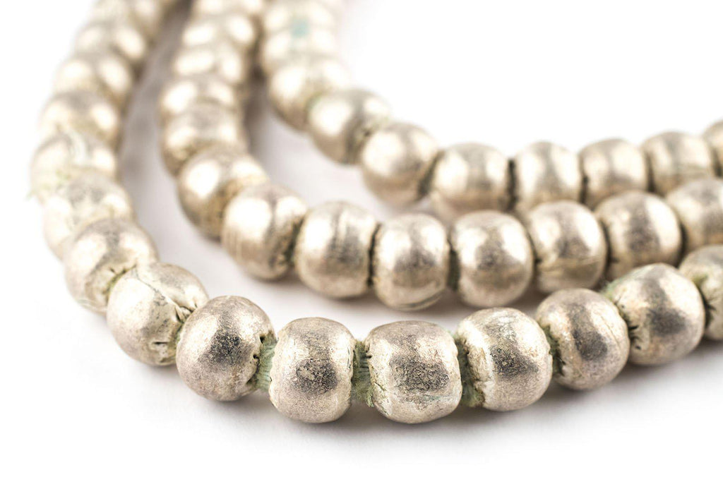 Round White Metal Ethiopian Beads (8mm) - Brushed Finish - The Bead Chest