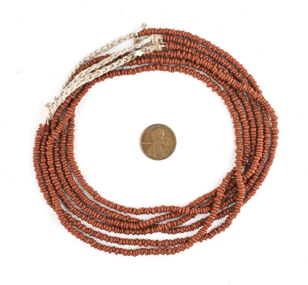 Dark Orange Java Glass Heishi Beads