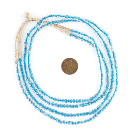 Iridescent Blue Core Ghana Glass Seed Beads - The Bead Chest