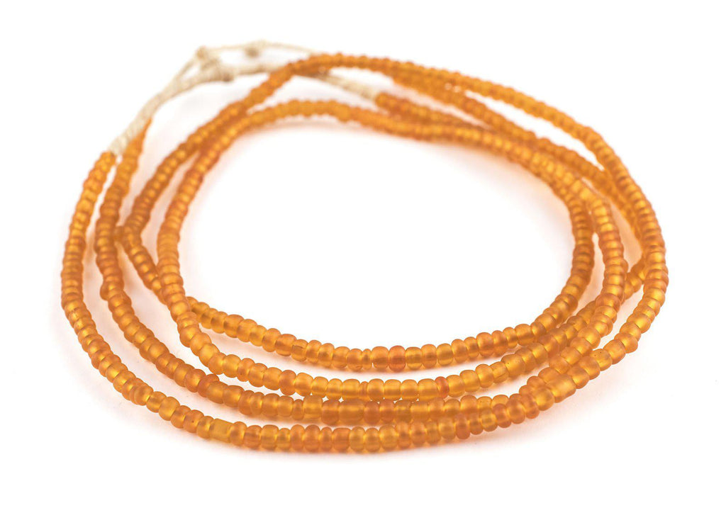Translucent Orange Ghana Glass Seed Beads - The Bead Chest