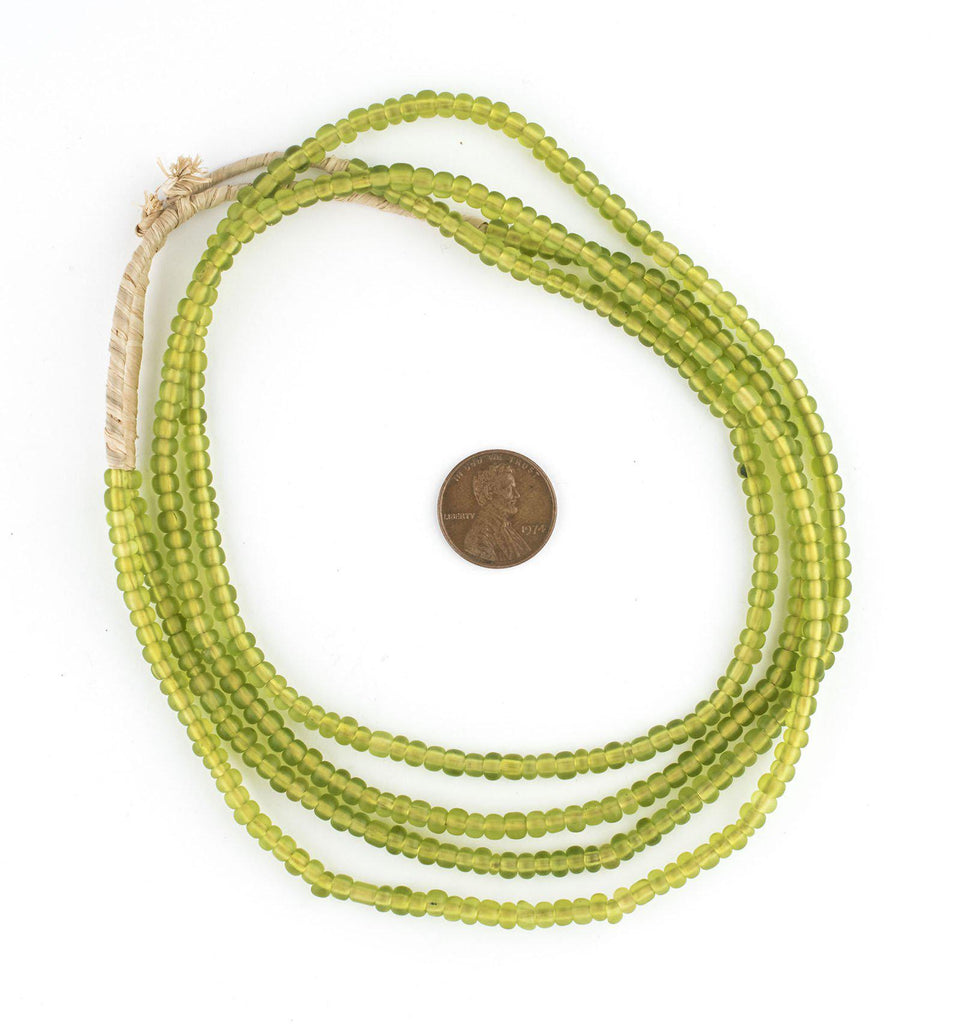 Translucent Lime Green Ghana Glass Seed Beads - The Bead Chest