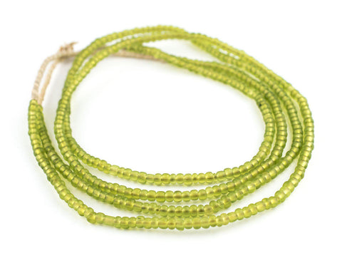 Image of Translucent Lime Green Ghana Glass Seed Beads - The Bead Chest