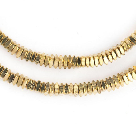 Faceted Gold Color Square Beads (4mm) - The Bead Chest