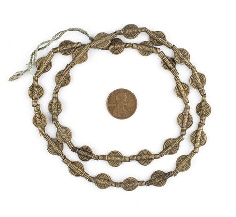 Smooth Sun Mini Baule Brass Beads (10mm) - The Bead Chest