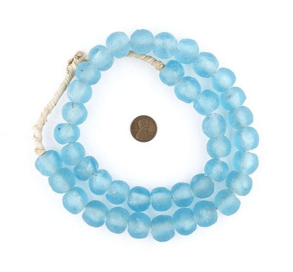 Baby Blue Recycled Glass Beads (18mm)