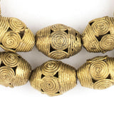 Cameroon-Style Brass Filligree Oval Beads (26x15mm)
