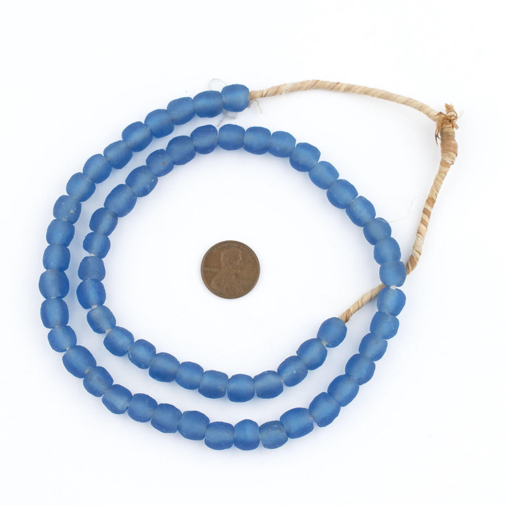 Blue Recycled Glass Beads (9mm) - The Bead Chest