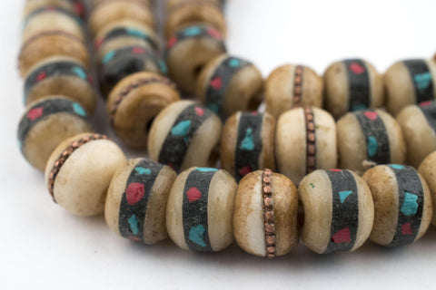 Vintage Inlaid Rustic Bone Mala Beads (10mm) - The Bead Chest