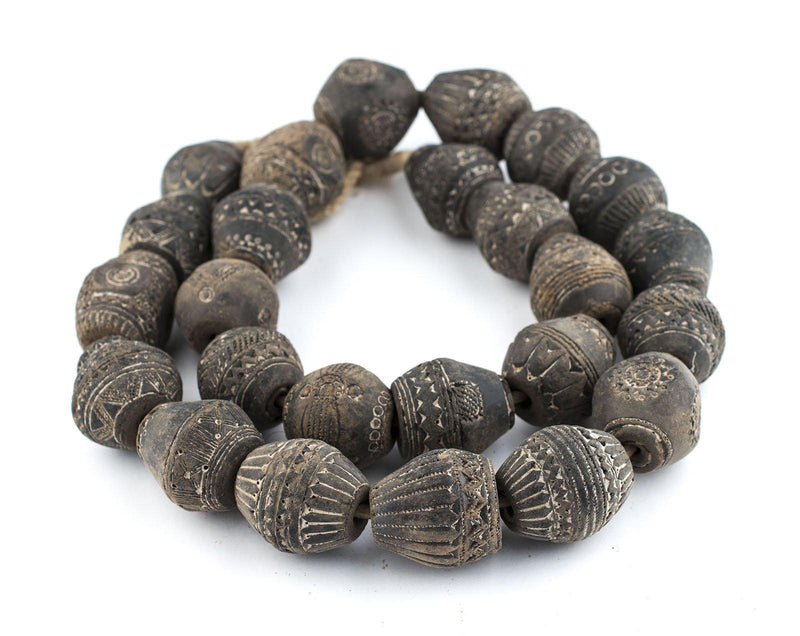 Old Irregular-shaped Mali Clay Spindle Beads (33x28mm) - The Bead Chest
