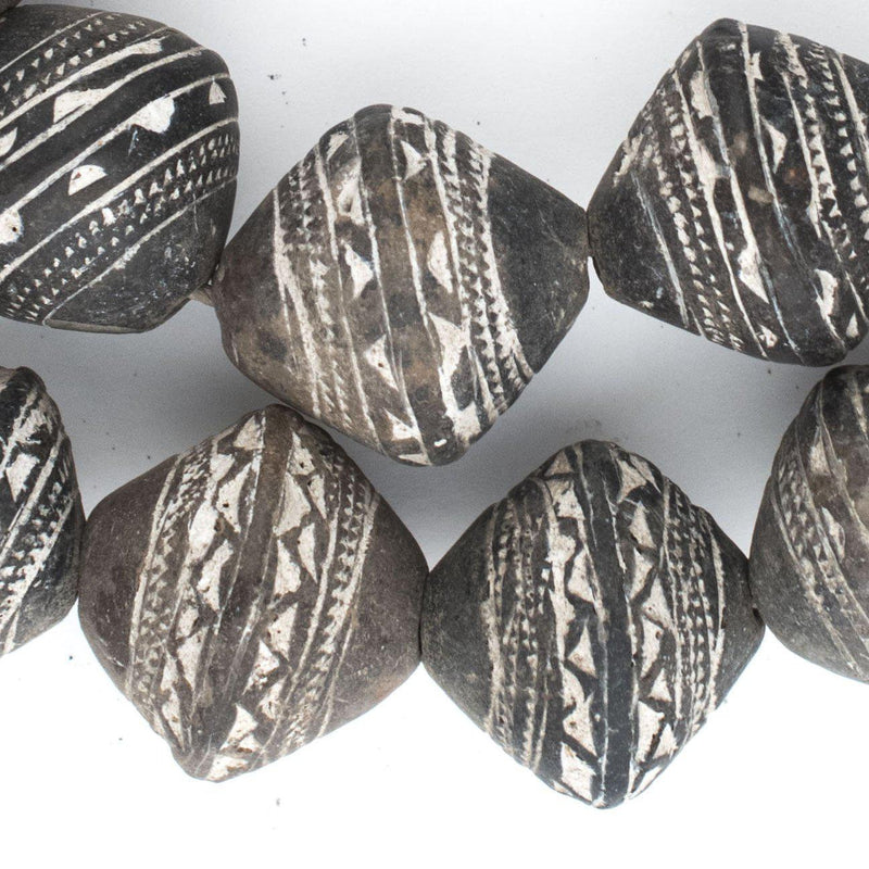 Patterned Mali Clay Spindle Bicone Beads (27x25mm) - The Bead Chest