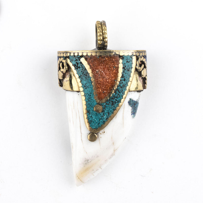Green Inlaid Conch Shell Tooth Pendant (60x32mm) - The Bead Chest
