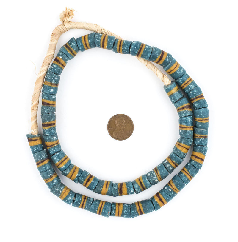 Sand Stripe Krobo Powder Glass Beads - The Bead Chest