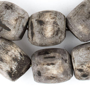 Grey Kenya Bone Beads (Barrel) - The Bead Chest