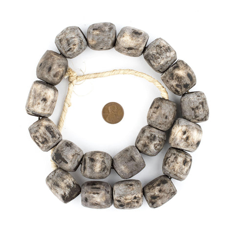 Image of Grey Kenya Bone Beads (Barrel) - The Bead Chest