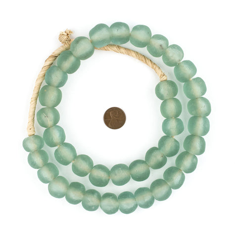 Image of Green Aqua Recycled Glass Beads (18mm) - The Bead Chest