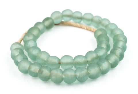 Green Aqua Recycled Glass Beads (18mm) - The Bead Chest