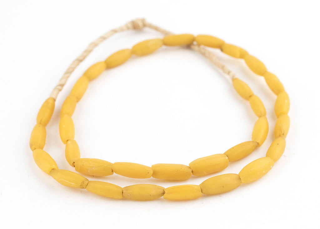Yellow Venetian Glass Watermelon Oval Beads - The Bead Chest