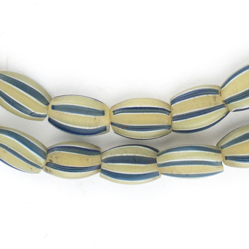 Blue & Yellow Striped Venetian Watermelon Chevron Beads - The Bead Chest