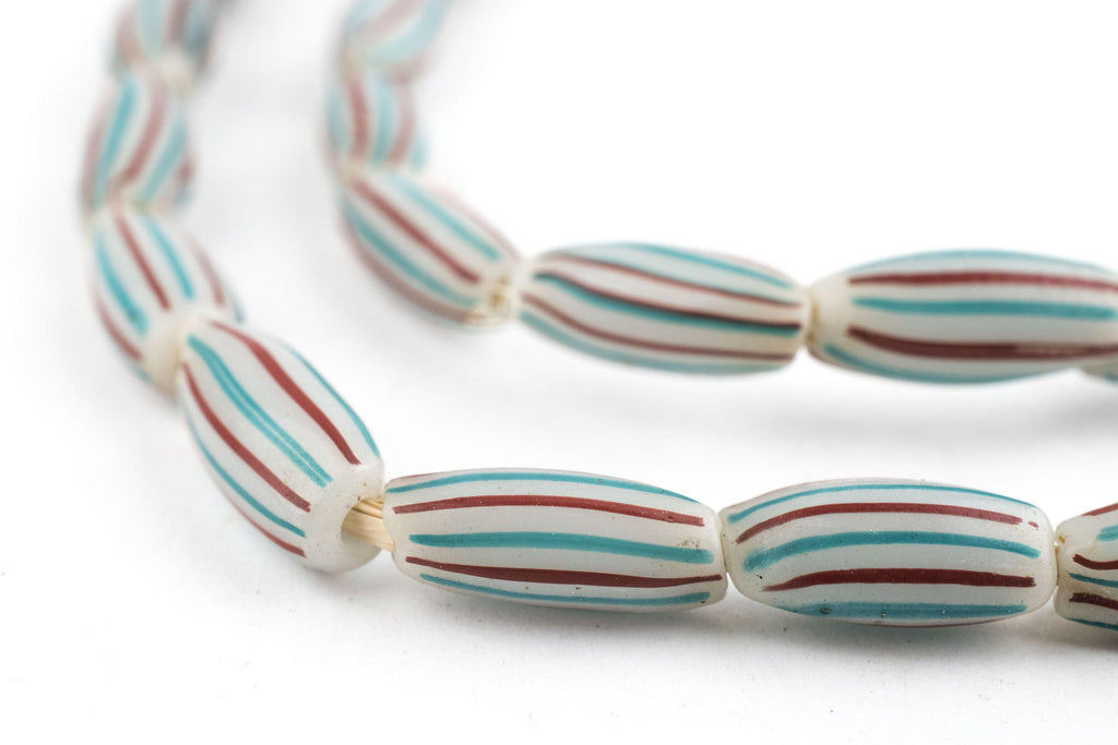 Turquoise & Red Striped Venetian Watermelon Chevron Beads - The Bead Chest