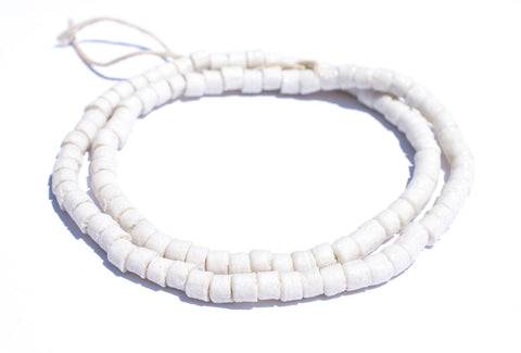 White Sandcast Cylinder Beads - The Bead Chest