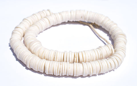 Image of White Coconut Bone Heishi Beads (14mm) - The Bead Chest