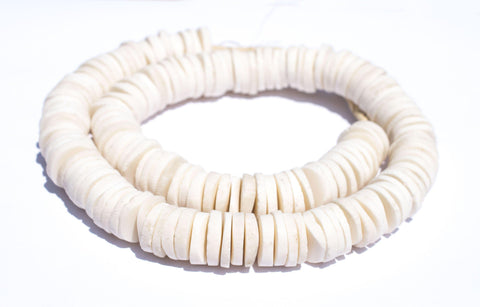 Image of White Coconut Bone Heishi Beads (18mm) - The Bead Chest