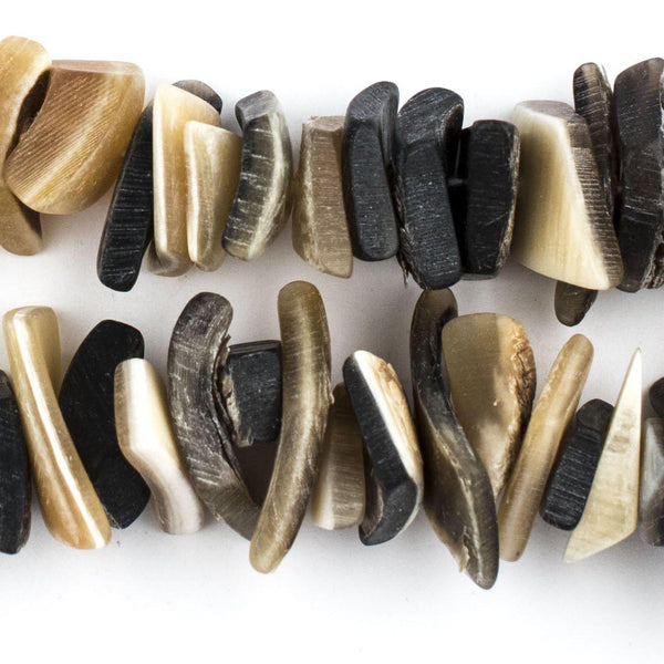 Carved Horn Rustic Beads 14 Flat Diamond Shaped Natural Buffalo Horn Beads Natural Horn Beads Indonesian Beads 15x25mm  BB18-0408Z