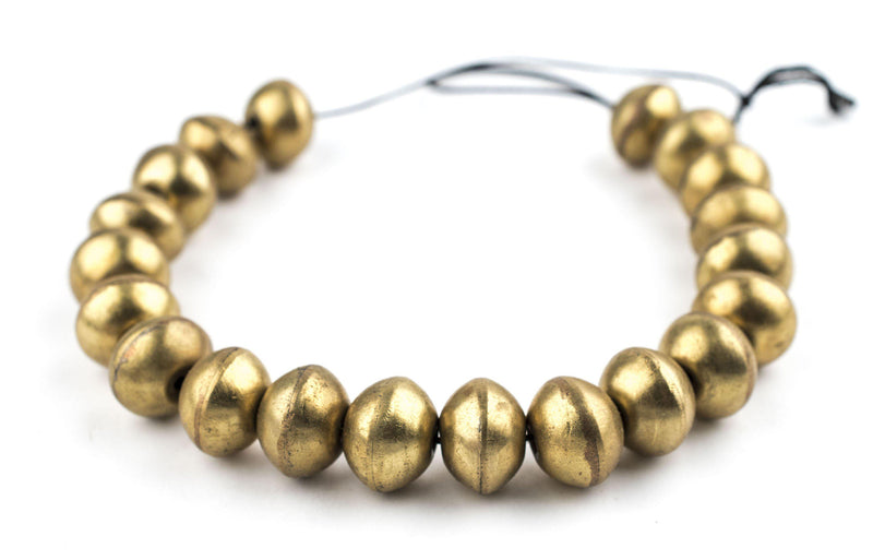 Artisanal Ethiopian Hollow Brass Bicone Beads (12x16mm) - The Bead Chest