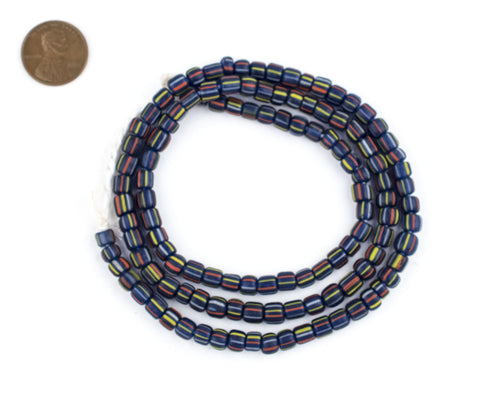 Cobalt Stripe Java Gooseberry Beads - The Bead Chest