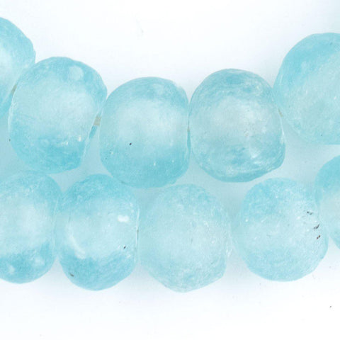 Clear Marine Recycled Glass Beads (18mm) - The Bead Chest