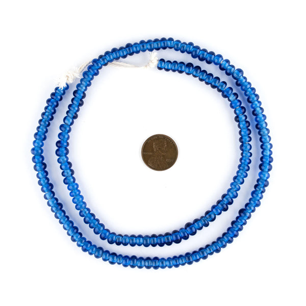 Translucent Blue Java Glass Donut Beads (6mm)