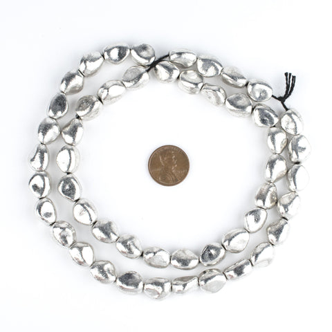 White Metal Nugget Beads - The Bead Chest