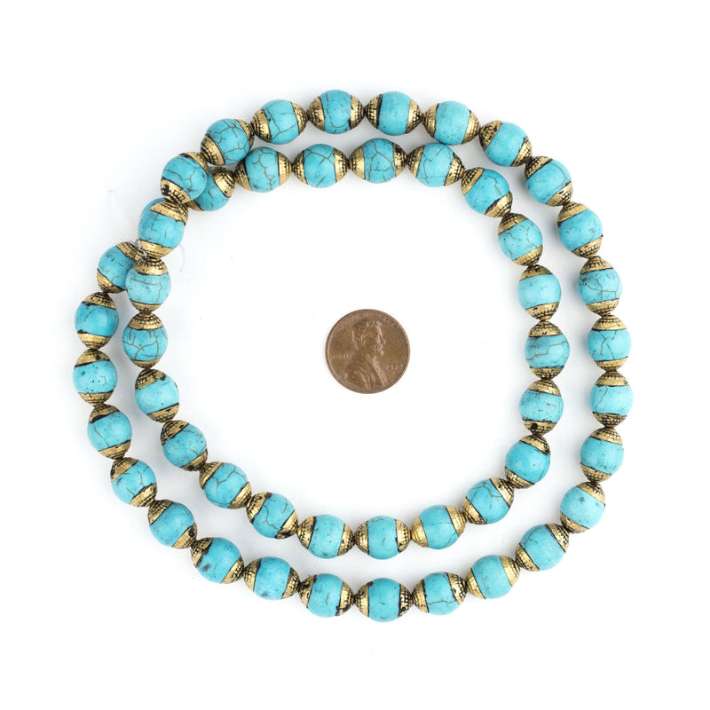 Turquoise Nepali Brass Capped Beads - The Bead Chest