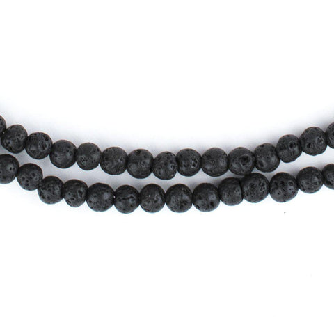 Black Volcanic Lava Beads (4mm) - The Bead Chest