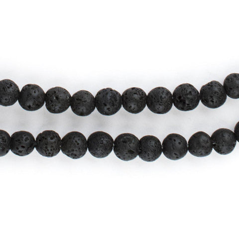 Image of Black Volcanic Lava Beads (6mm) - The Bead Chest