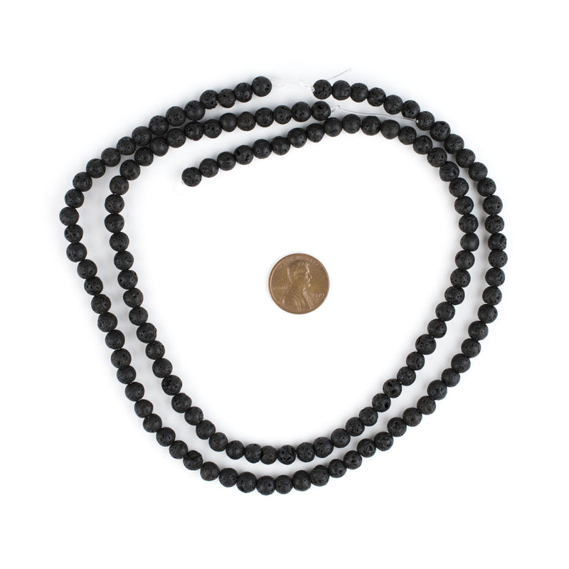 Black Volcanic Lava Beads (6mm) - The Bead Chest