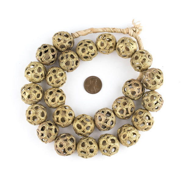 Brass Filligree Globe Beads (22mm)
