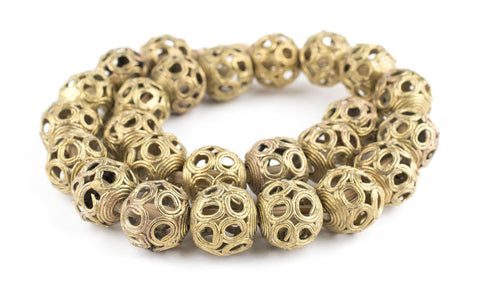 Image of Brass Filigree Globe Beads (22mm) - The Bead Chest