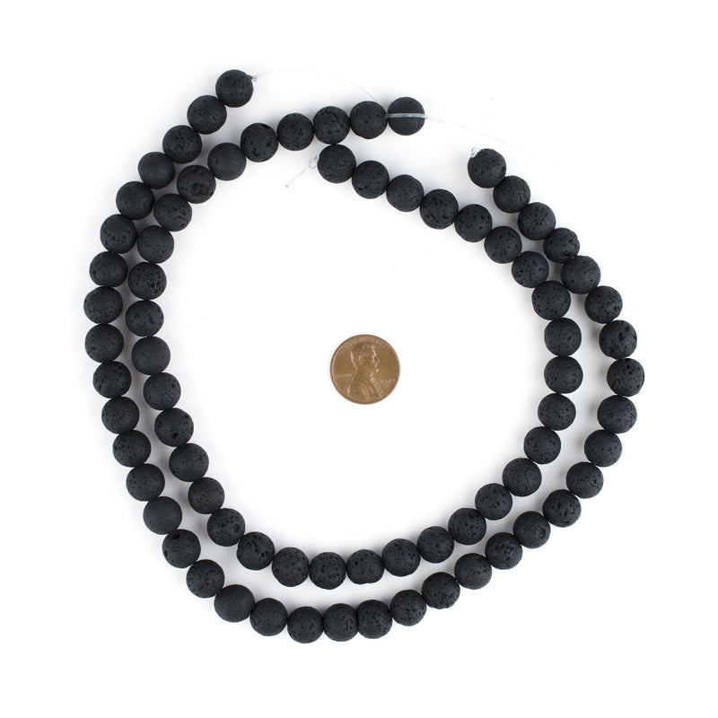 Black Volcanic Lava Beads (10mm) - The Bead Chest