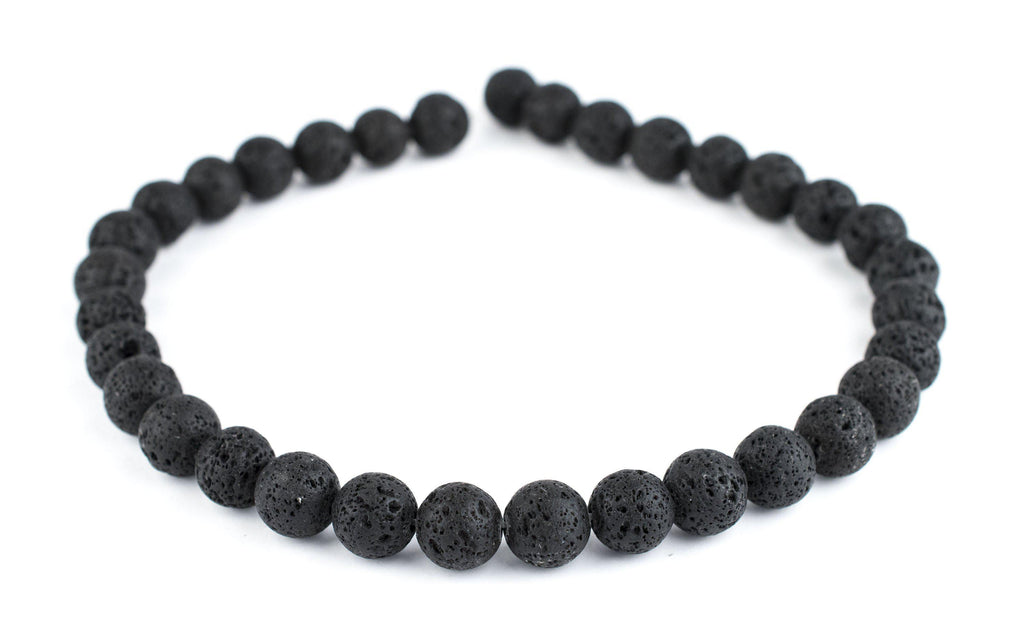 Black Volcanic Lava Beads (12mm) - The Bead Chest